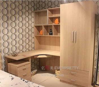 Wood Cheap Study Table and Book Shelf with Wardrobe for Bedroom Furniture. Wood Cheap Study Table And Book Shelf With Wardrobe For Bedroom