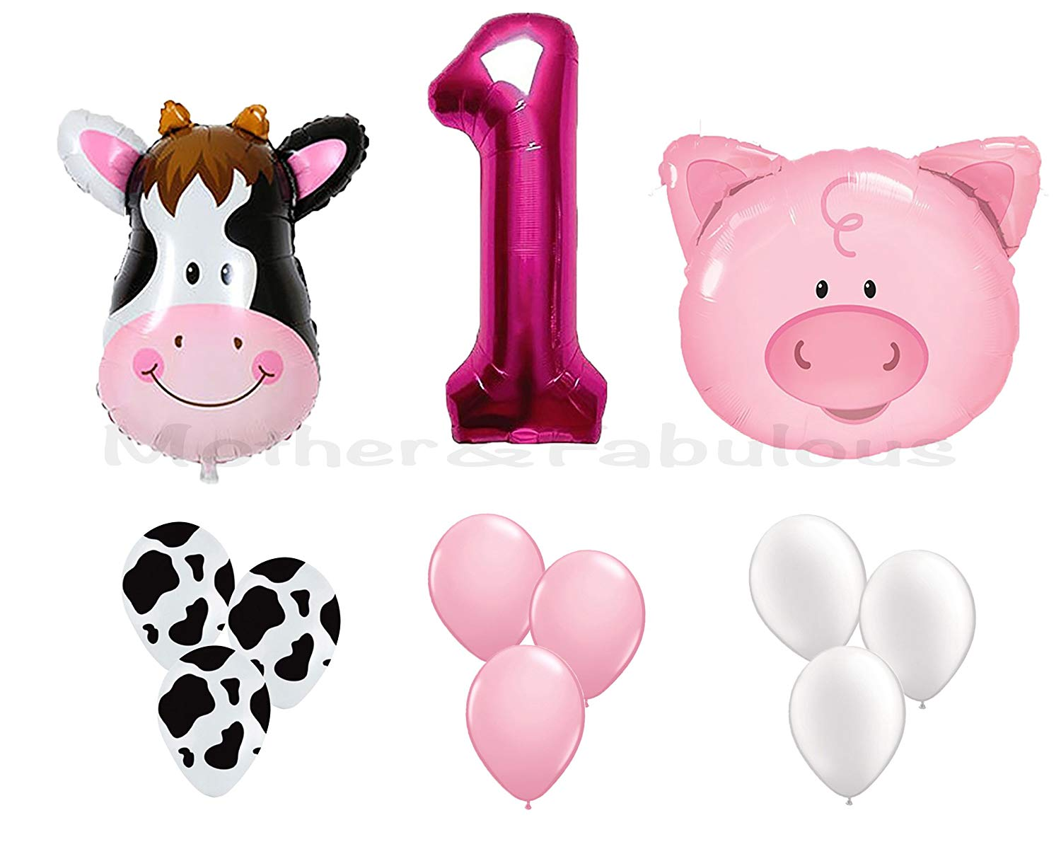 "First Birthday Farm Animal Theme Balloons For Baby Girl Party Decoration. 36"" Cow & Pig With 12"" Helium Quality Latex Balloons White, Pink And Cow Print Balloons with the number ""1"" Pink foil balloon"