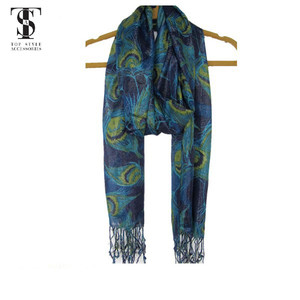 Peafowl printed soft hand feel metallic viscose scarf