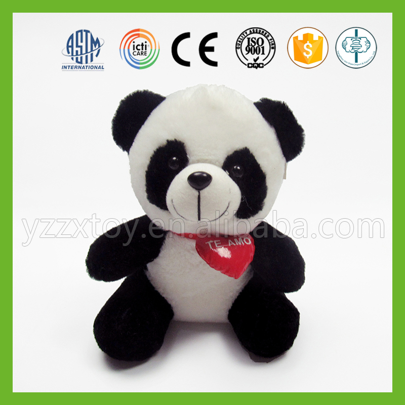 Cheap custom cute plush panda toy with red heart