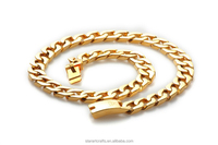 N202 IPG 14K 18K 24k gold plating stainless steel locket cuban link chains necklaces