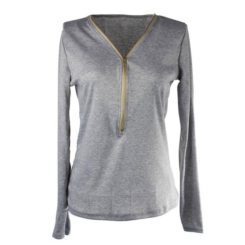 Высокий 2015 женщин сексуальный v-образным вырезом блузки slim-подходят длинные рукава блузки свободного покроя дамы молния топ рубашки высокая Quanlity