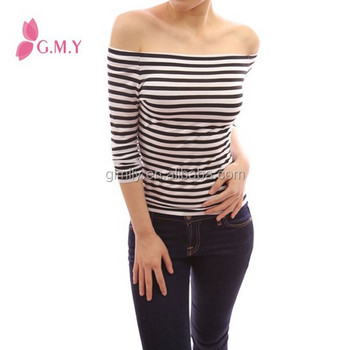 b066d8deb0cbc women fitted top Black and White Stripe Long Sleeve Tunic knitwear Off  Shoulder Tops