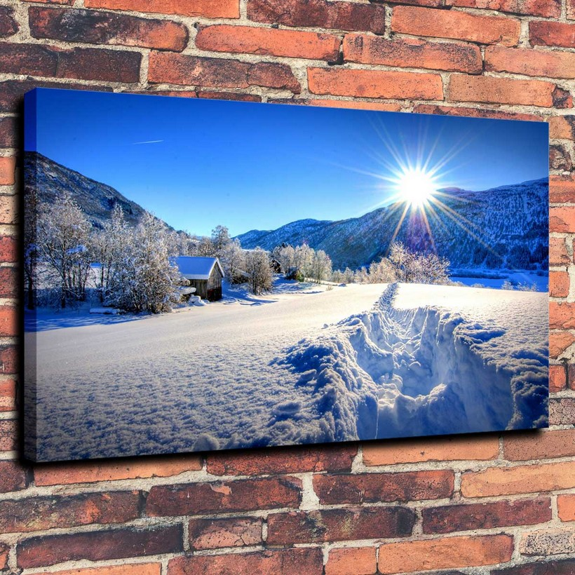 Convas Prints Wall Art Oil Landscape Painting for The Modern Home Wall Decoration for Snow Piture In The Winter ( No Framed )