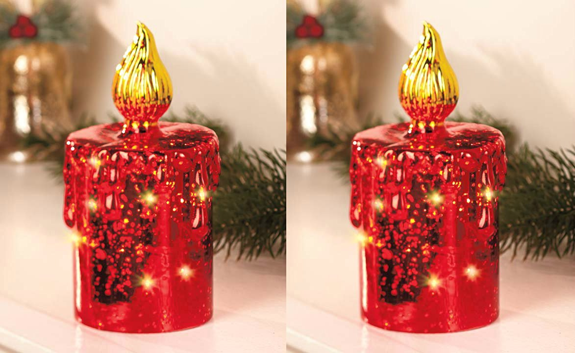 "Set of Two 7-1/2""h"" Red Mercury Glass Lighted Battery Operated Table Top Decor Christmas Holiday Candle Decoration"
