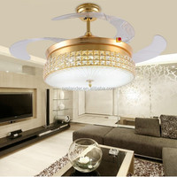 42inch Hidden Blades Crystal LED ceiling fans with folding blades