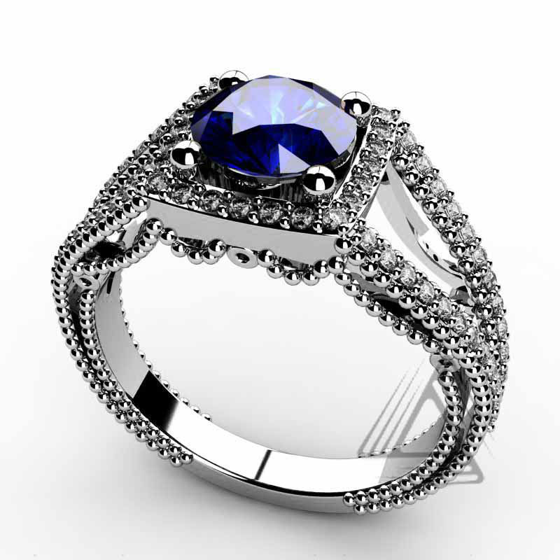 Lab Created Blue Sapphire Rings White Gold for Women