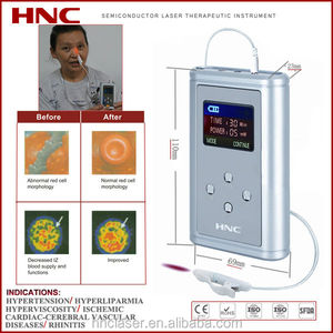 LLLT laser irradiation for blood circulation, hypertension, hyperviscosity, cardiovascular disease and nasal issues
