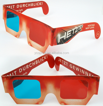 Custom size and Design Paper 3D Red/Cyan ,Red/Blue Glasses for 3D Picture and Movies