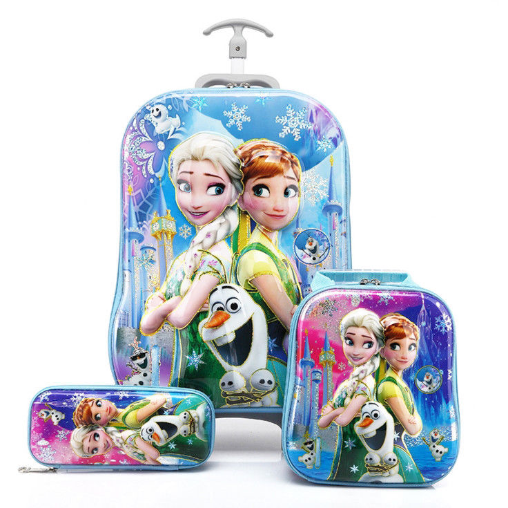 (top Quality) Wholesale New Arrival kids school wheeled girls trolley frozen school bag