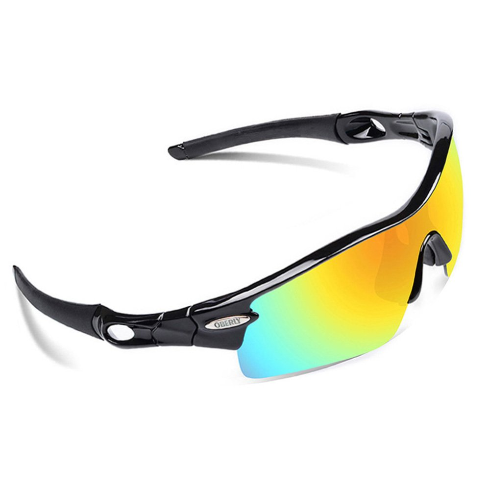 e08b9c6a4b22a Get Quotations · OBERLY S02 Polarized Sports Sunglasses with 4  Interchangeable Lenses for Men Women Cycling Baseball Golf Fishing