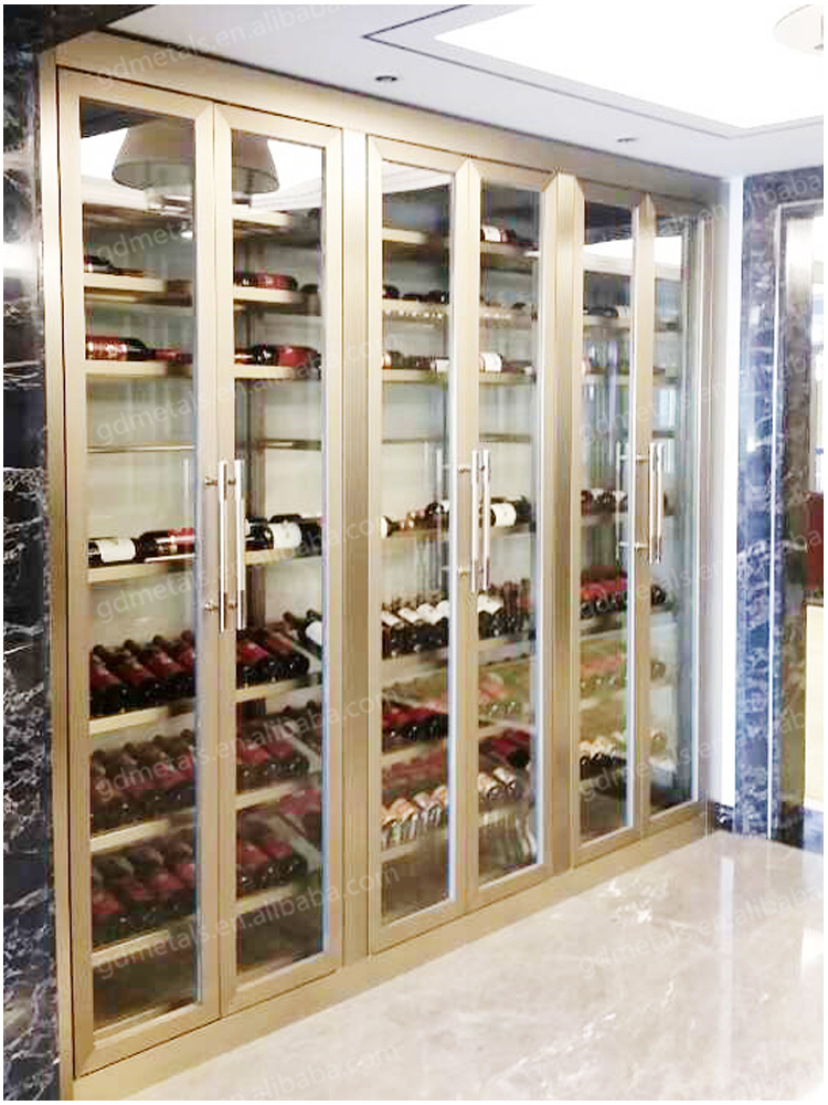 Custom hotel 304 stainless steel wine bar cabinet, stainless steel glass cabinet display.