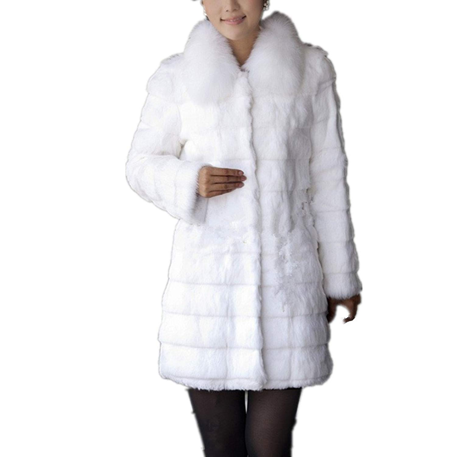 Lisa Colly Fashion Women Winter Coat Warm Faux Fur Coat Outerwear Long Fur Collar Casual Thick Jacket Coat