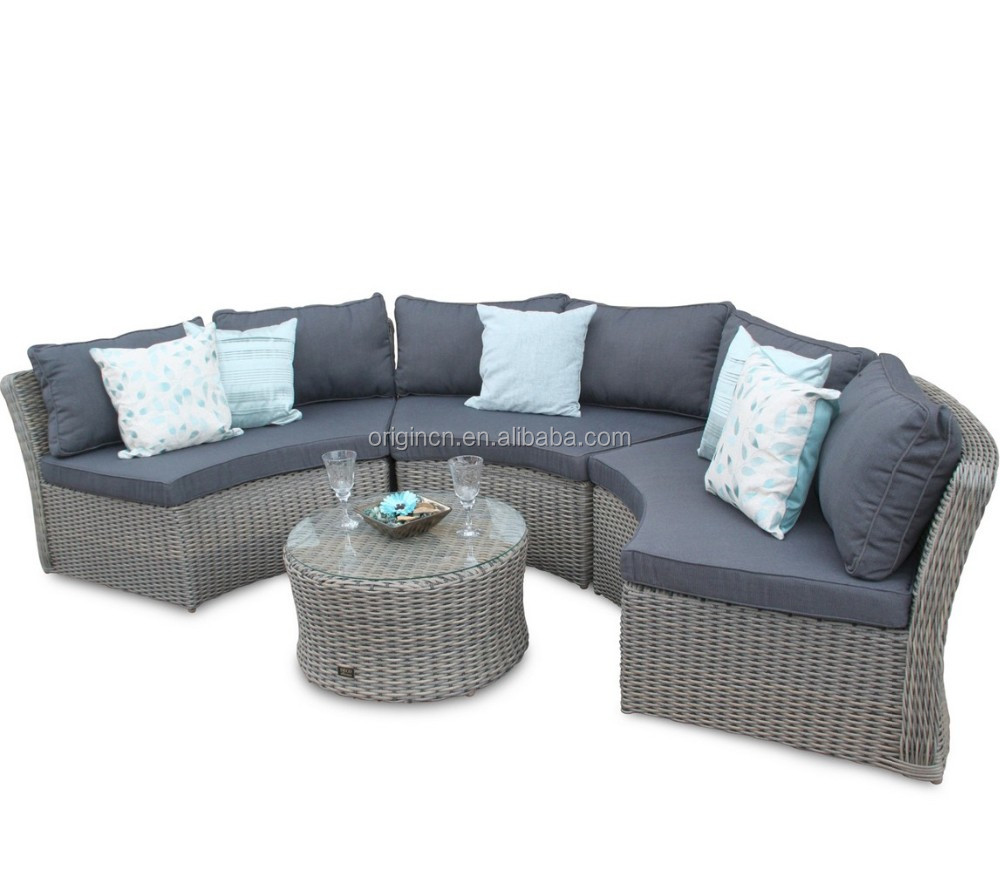 6 Seater Round Curved Shaped Outdoor Lounge Sofa And Tea Table Set Sectional Rattan Half Moon Furniture
