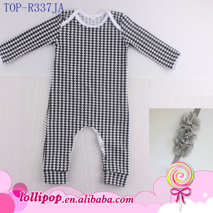 Baby Boy Girl Houndstooth Birds Geer Pattern Body Romper Jumpsuit Outfit Fashion Baby Clothing 3 Pieces