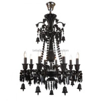 Small 8 lamps Black Color Baccarat Style Crystal Chandelier for Home