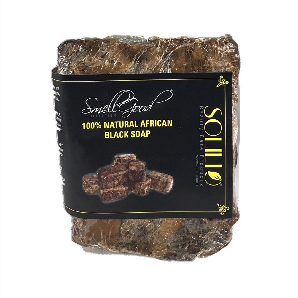 SmellGood - African Black Soap, totally natural, best quality, raw and organic soap, great for body and face wash, imported from Ghana, 10 LB bar, 3 Units Set