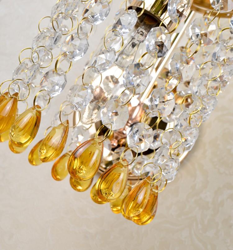 Modern Buleyellow Bead Wall Light K9 Crystal For Bedroom Aisle