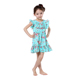 fashion aqua floral cotton ruffle boutique girl clothing flower girl dresses 2017