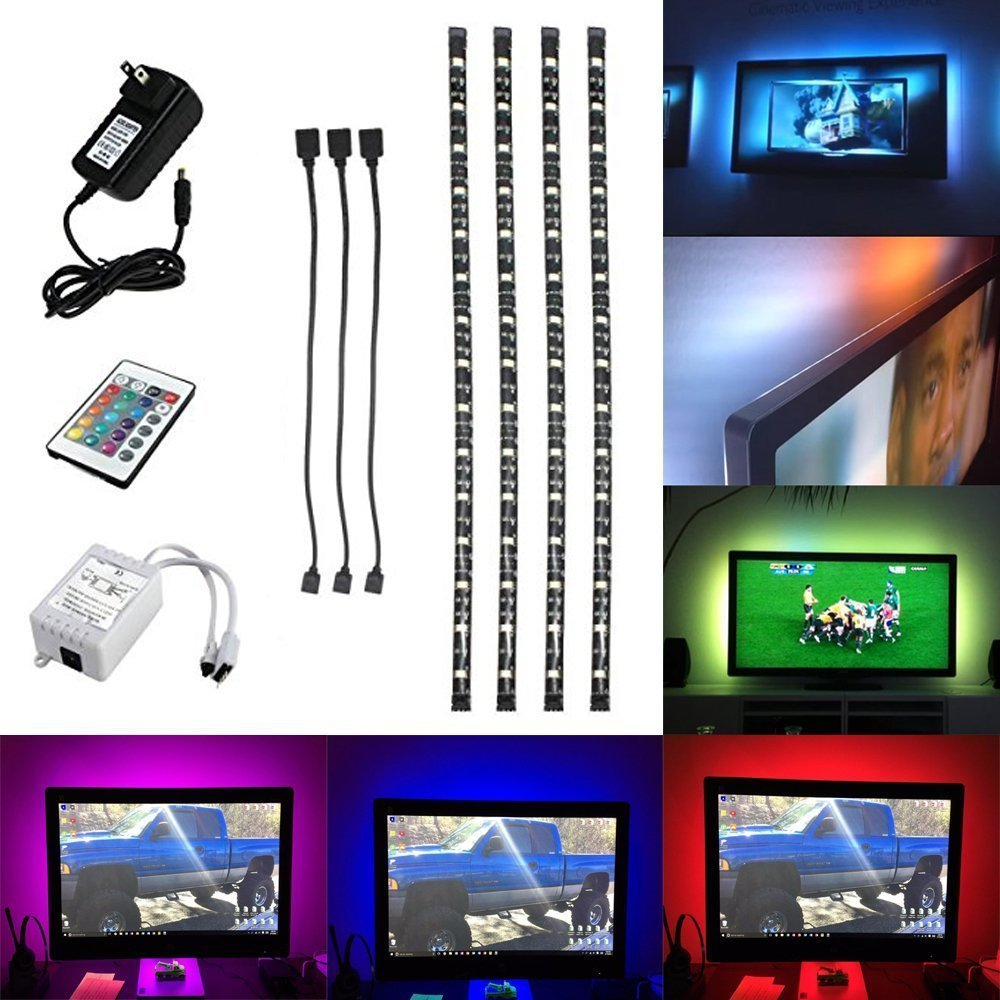 HJD Light®5050 RGB 4x50CM Waterproof Strip Lights Sofa Couch Back Light LED Backlight Accent Night Light with 24key IR Remote Controller