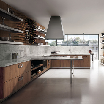 Interior Simple American Modern L Shaped Modular Kitchen