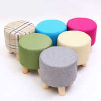 Small Wooden Soft Rest Chair Round Ottoman Stool