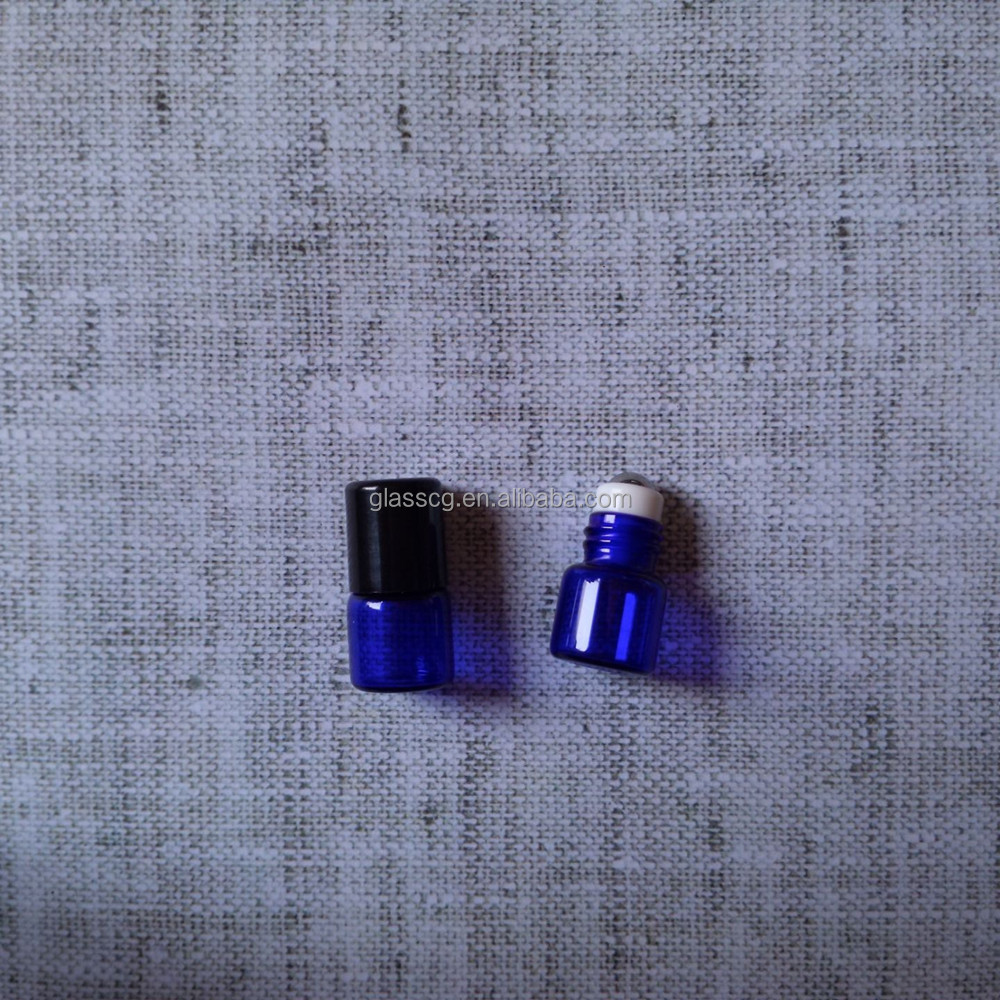 1ml 15x19mm Blue Roll On Essentical Oil <strong>Bottle</strong> With Metal Steel Roller And Plastic Cap