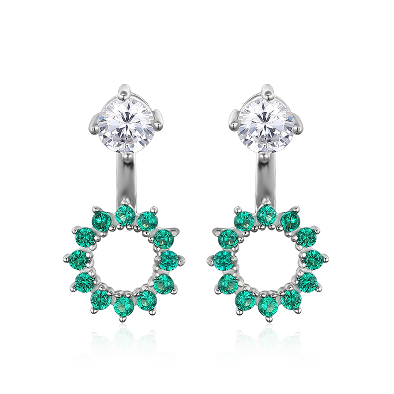 JewelryPalace Nano Russian Simulated Emerald Earrings Jacket 925 Sterling Silver Jewelry