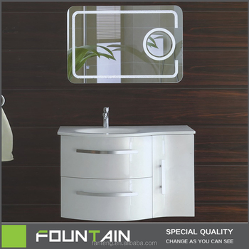 Hangzhou Manufacture Curved Cabinet Gloss White MDF Bathroom Cabinet With  LED Mirror Wall Mounted Modern MDF