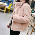 Fluffy Faux sheep Fur Coats Thick Plus Size Solid Color Long Sleeve Women Fleece Coat Winter Clothing