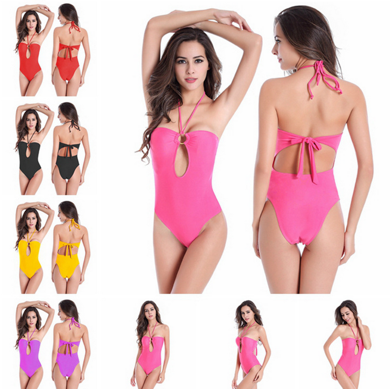 PJ0449A The new one is a pure color conjoined female swimsuit