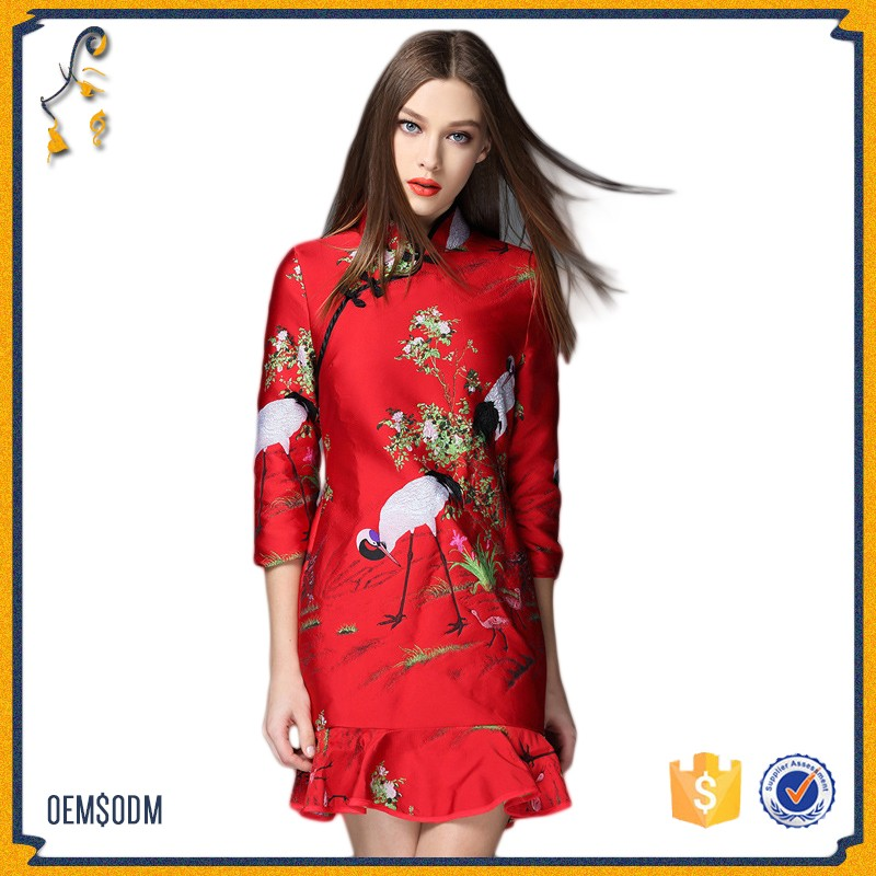 Retro Elegant Improvement of The Daily Short Section FishTail Cheongsam 2017 New Small Cranes Printed Cheongsam Dress