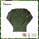 Olive Green V-Neck Military Commando Wool Crewneck Sweater