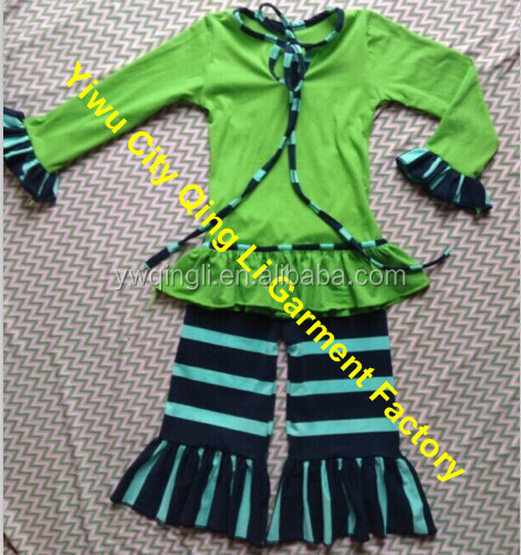 Baby Girls Outfits Trendy Child long sleeve round neck top and striped Ruffle pants baby girls' lovely and pretty baby outfit