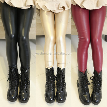 c042d6b4c79 Latest design winter fashion modle pants slim elastic mature girls shiny  kids tights warm leather leggings