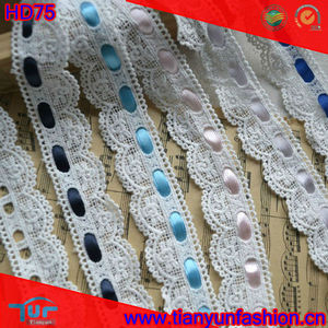 Cotton water soluble embroidered laces for sarees borders