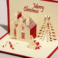 Handmade Paper Craft 3D Pop Up Christmas Card Greeting Card With Envelope