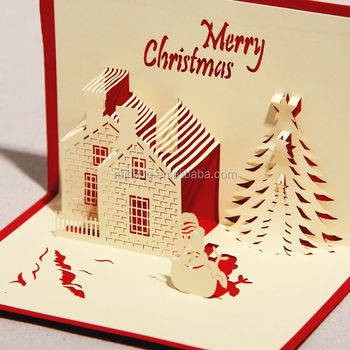 Handmade Paper Craft 3d Pop Up Christmas Card Greeting Card With