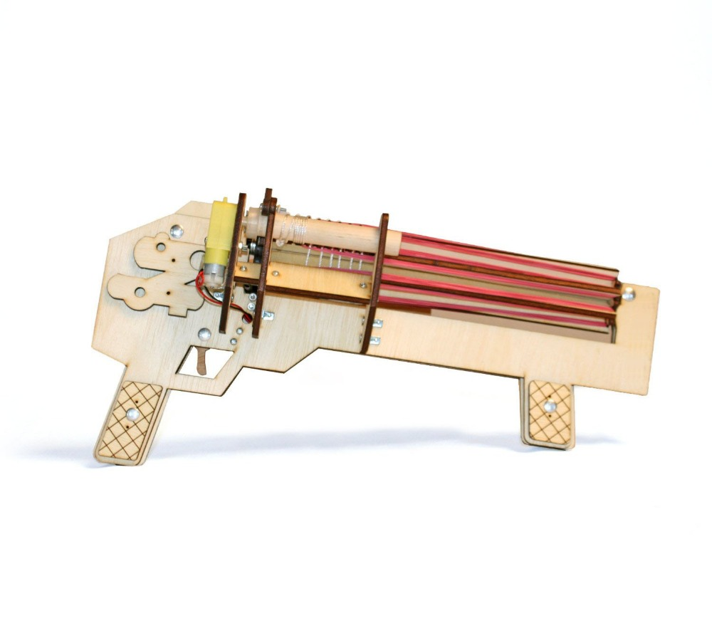 Rubber Band Machine Gun - Shoots Up to 10 Rounds Per Second Ultimate Office Warfare Novelty DIY Wooden Toys Gun