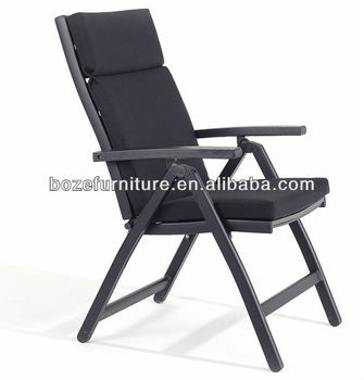 Outdoor Most Comfortable Black Folding Chair With Waterproof Cushion Furniture