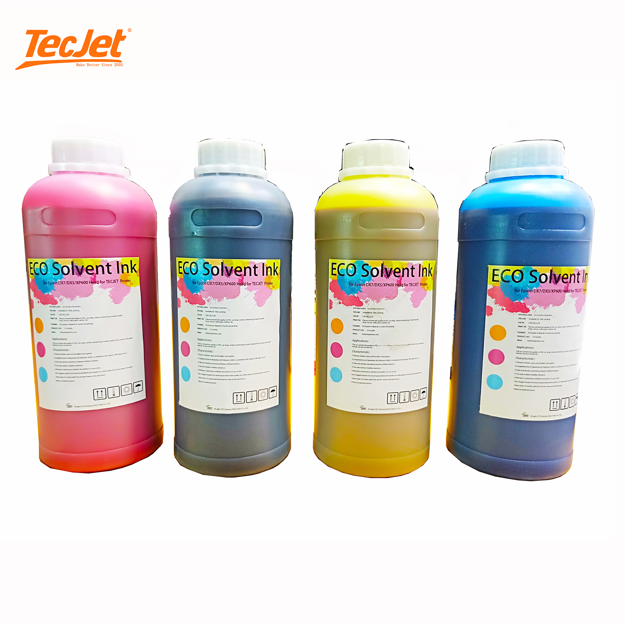 TECJET durable digital printing eco solvent ink for DX7/DX5/XP600 printhead for eco solvent printers