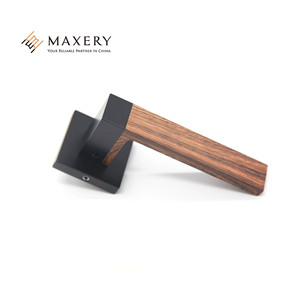 Black square wooden high end stitching door handle
