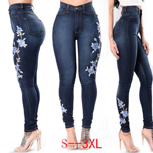 LADIES SEXY EMBROIDERY STRETCH Denim Jean For Women