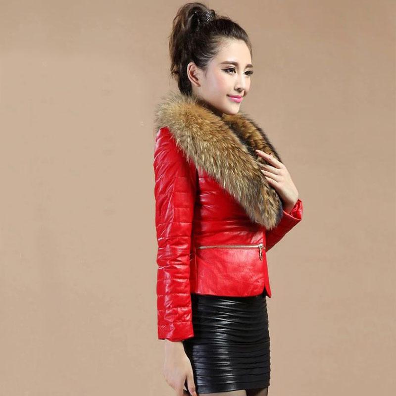 2015 женщин пальто мода кожа перо хлопка-ватник тонкий ово воротник короткий параграф кожа шуба женская