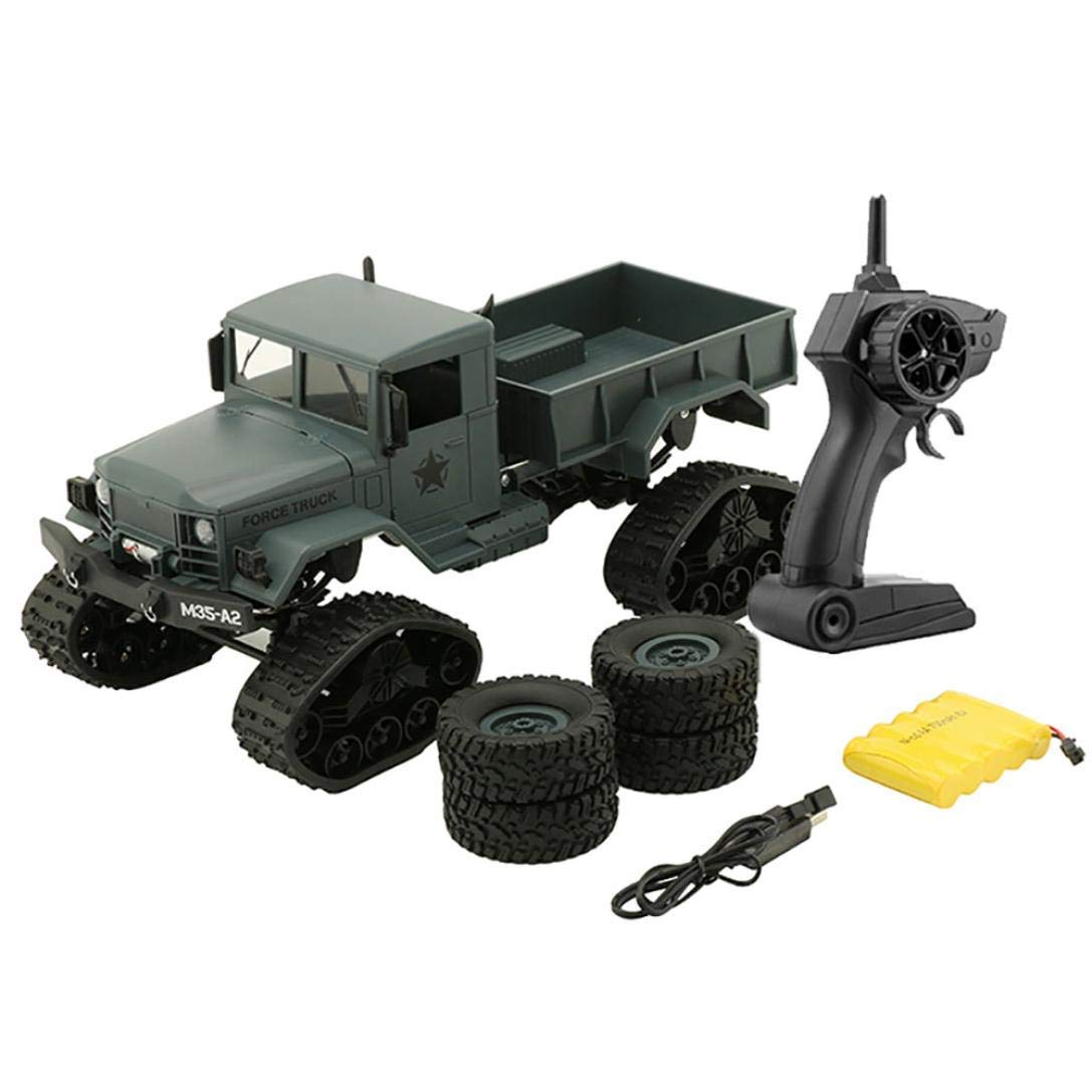 Yezijin Remote Control Car, RC Military Truck Army 1:16 4WD Tracked Wheels Crawler Off-Road Car RTR Toy New