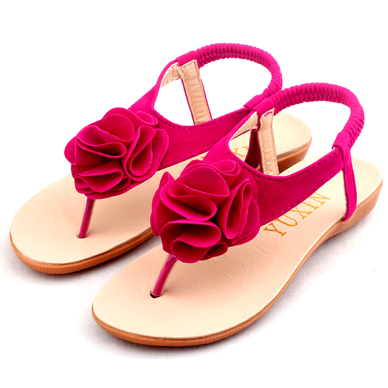 Children Roman Sandals  Girls PU Leather beach Shoes 2015 Summer Herringbone Kids sweet princess Floral Sandals 3 Color