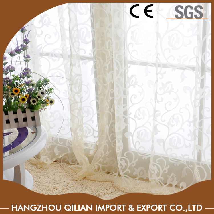 European Style Jacquard Leaf Design Sheer Curtains White