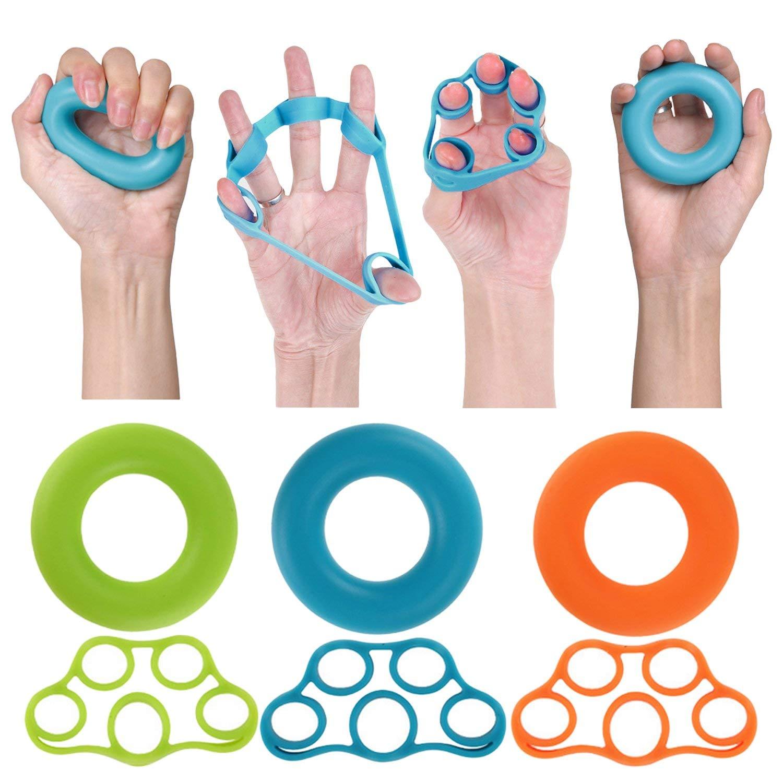 Gosear Hand Trainer, Hand Exerciser 6pcs Assorted Colors Hand Grip Strengthener Finger Stretcher Finger Resistance Bands Finger Grip Exerciser Strengtheners Trainer