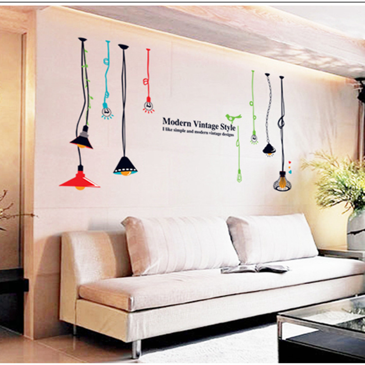 modern vintage home decor creative diy pvc removable hanging lamps wall sticker dining room in. Black Bedroom Furniture Sets. Home Design Ideas