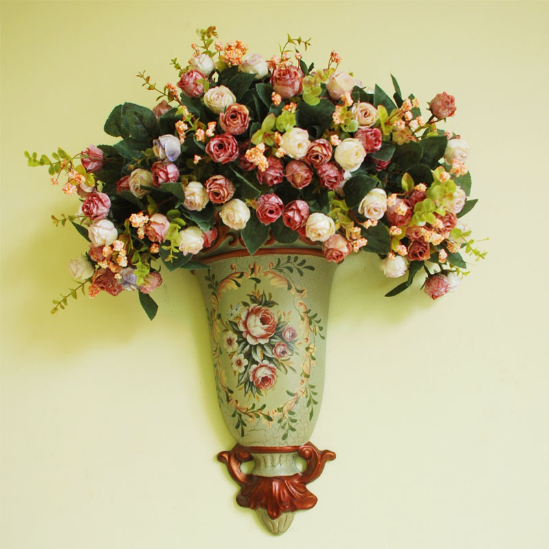 Ceramic Wall Flower Decor: Fashion Rustic Wall Flower Holder Bowyer Set Home